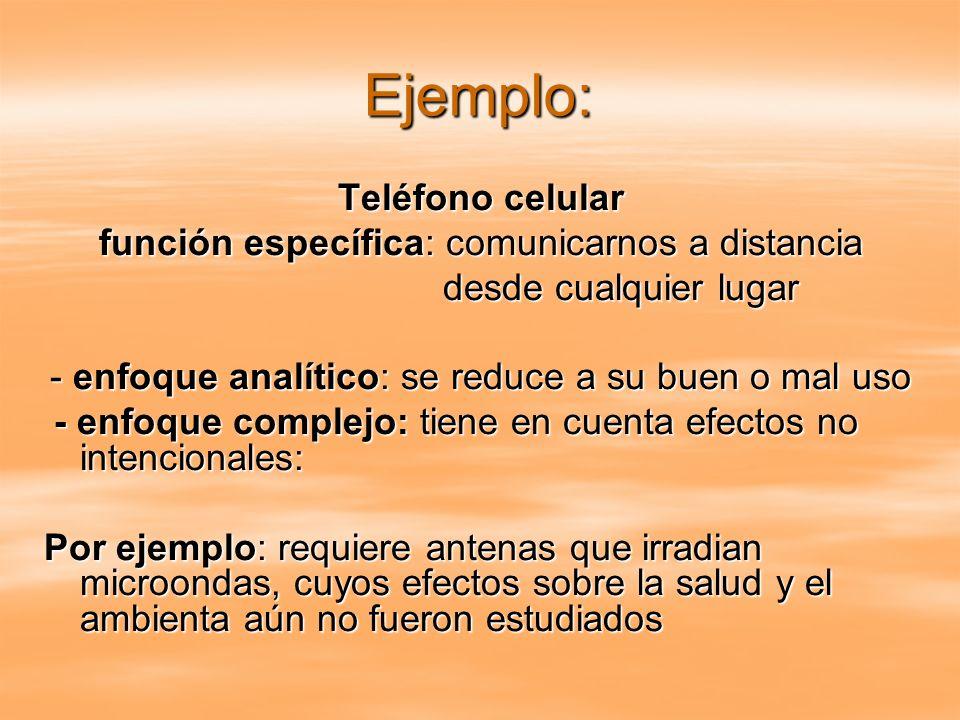 Ejemplo: Teléfono celular función específica: comunicarnos a distancia