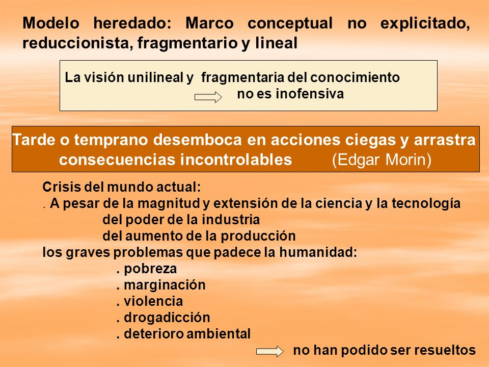 Modelo heredado: Marco conceptual no explicitado, reduccionista, fragmentario y lineal