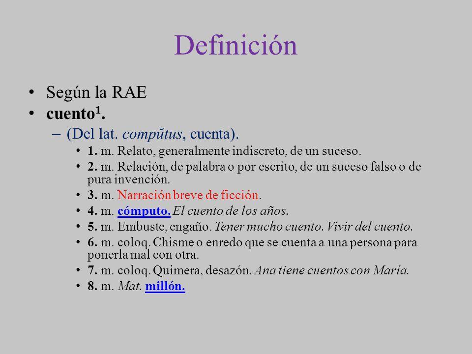 Definición Según la RAE cuento1. (Del lat. compŭtus, cuenta).