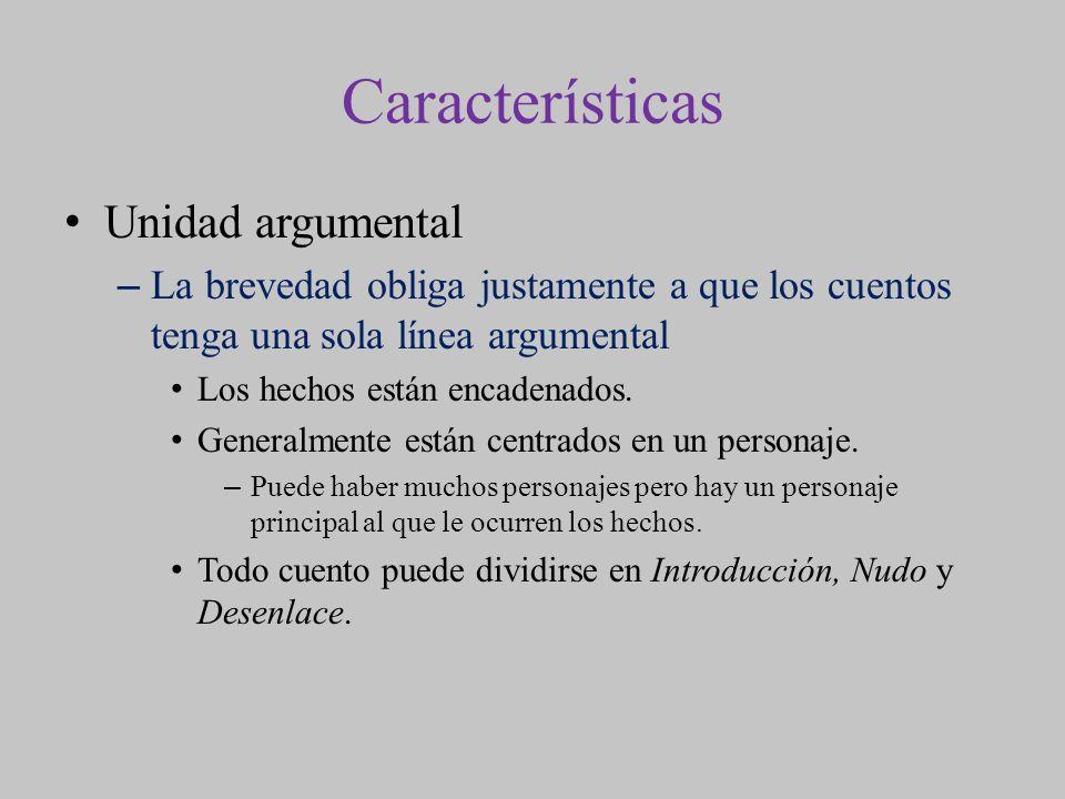 Características Unidad argumental