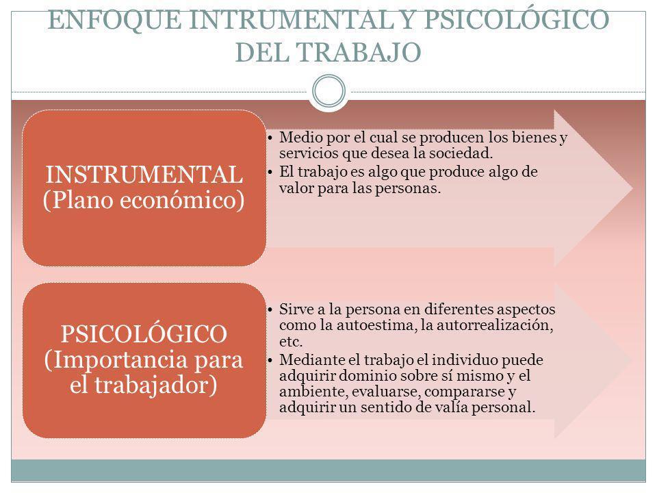 ENFOQUE INTRUMENTAL Y PSICOLÓGICO DEL TRABAJO