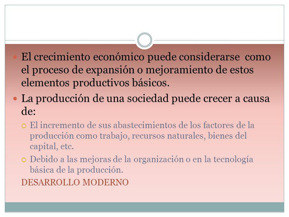 La producción de una sociedad puede crecer a causa de: