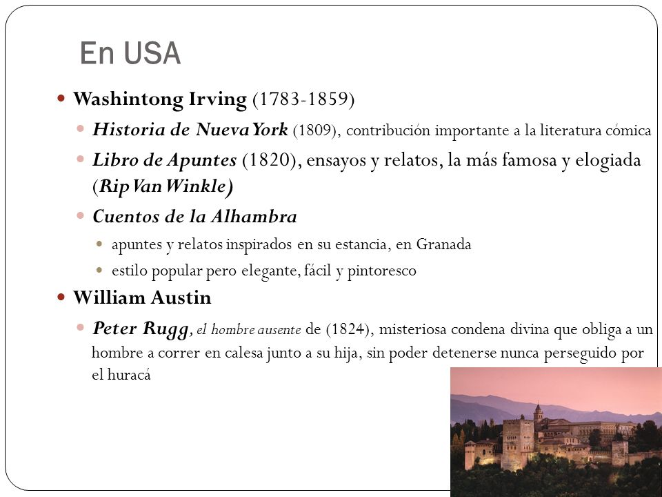 En USA Washintong Irving (1783-1859)
