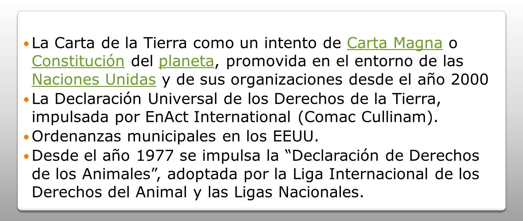 La Carta de la Tierra como un intento de Carta Magna o Constitución del planeta, promovida en el entorno de las Naciones Unidas y de sus organizaciones desde el año 2000