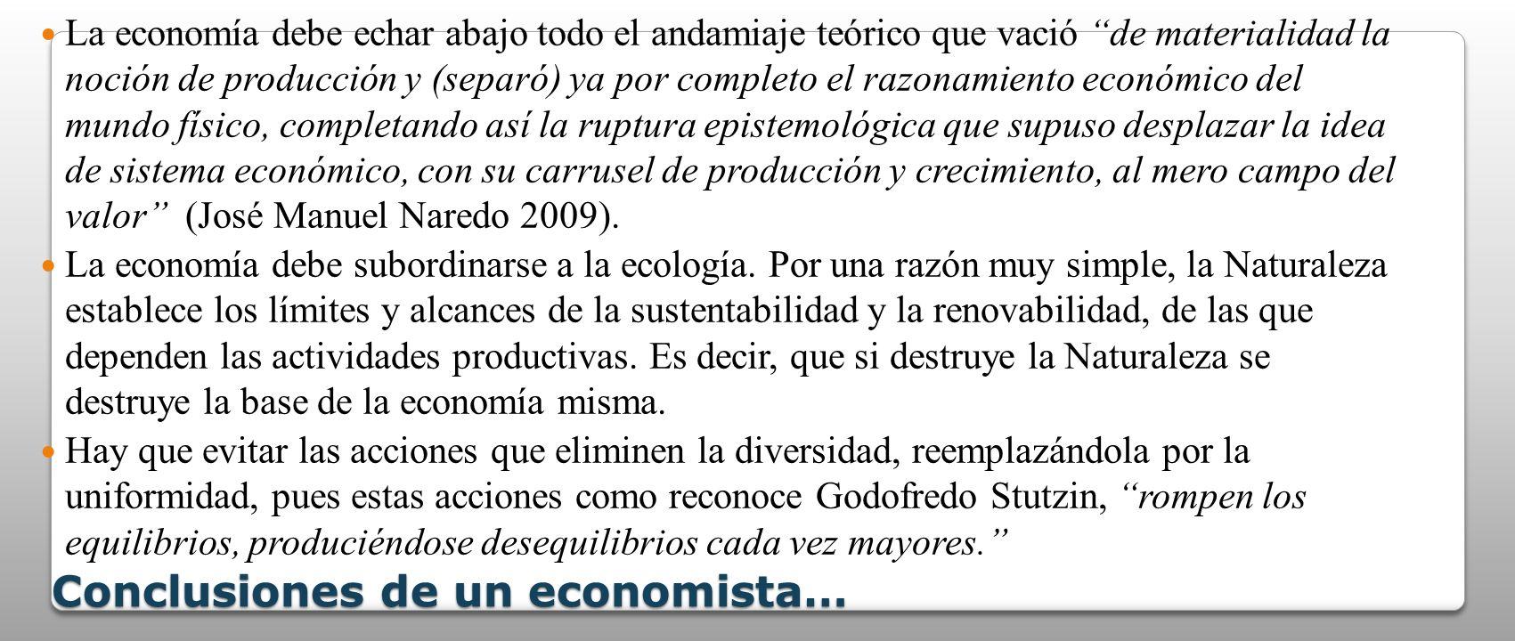 Conclusiones de un economista…