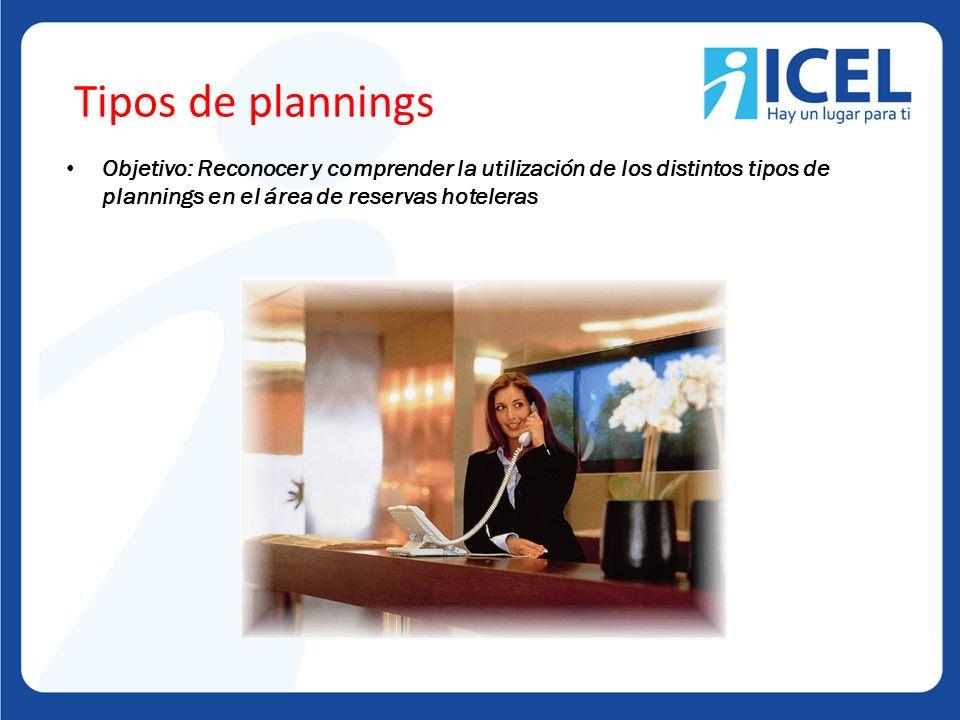 Tipos de plannings Objetivo: Reconocer y comprender la utilización de los distintos tipos de plannings en el área de reservas hoteleras.