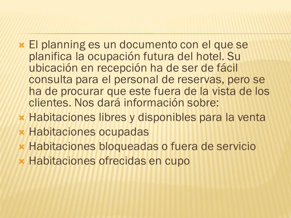 El planning es un documento con el que se planifica la ocupación futura del hotel. Su ubicación en recepción ha de ser de fácil consulta para el personal de reservas, pero se ha de procurar que este fuera de la vista de los clientes. Nos dará información sobre: