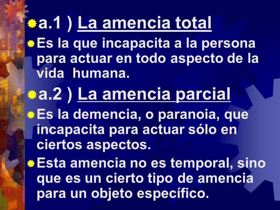 a.1 ) La amencia total a.2 ) La amencia parcial