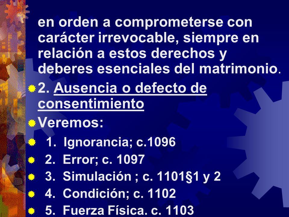 2. Ausencia o defecto de consentimiento Veremos: 1. Ignorancia; c.1096