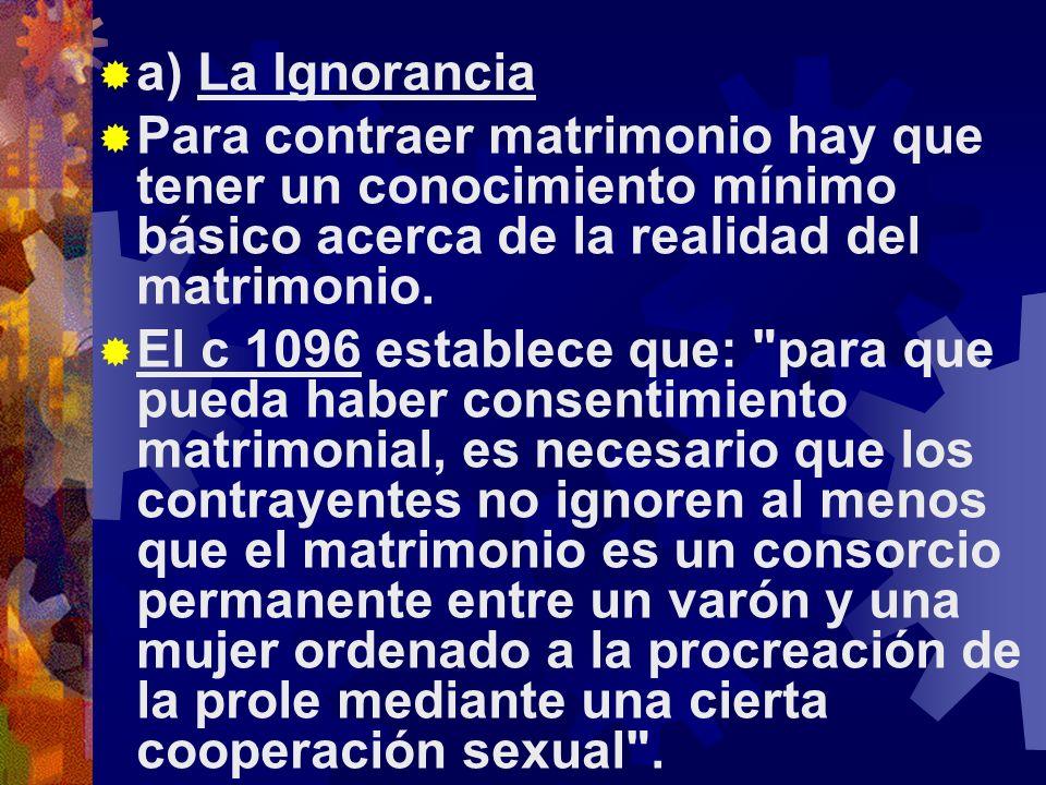 a) La Ignorancia Para contraer matrimonio hay que tener un conocimiento mínimo básico acerca de la realidad del matrimonio.