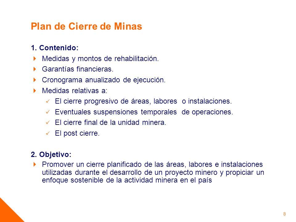 Plan de Cierre de Minas 1. Contenido: