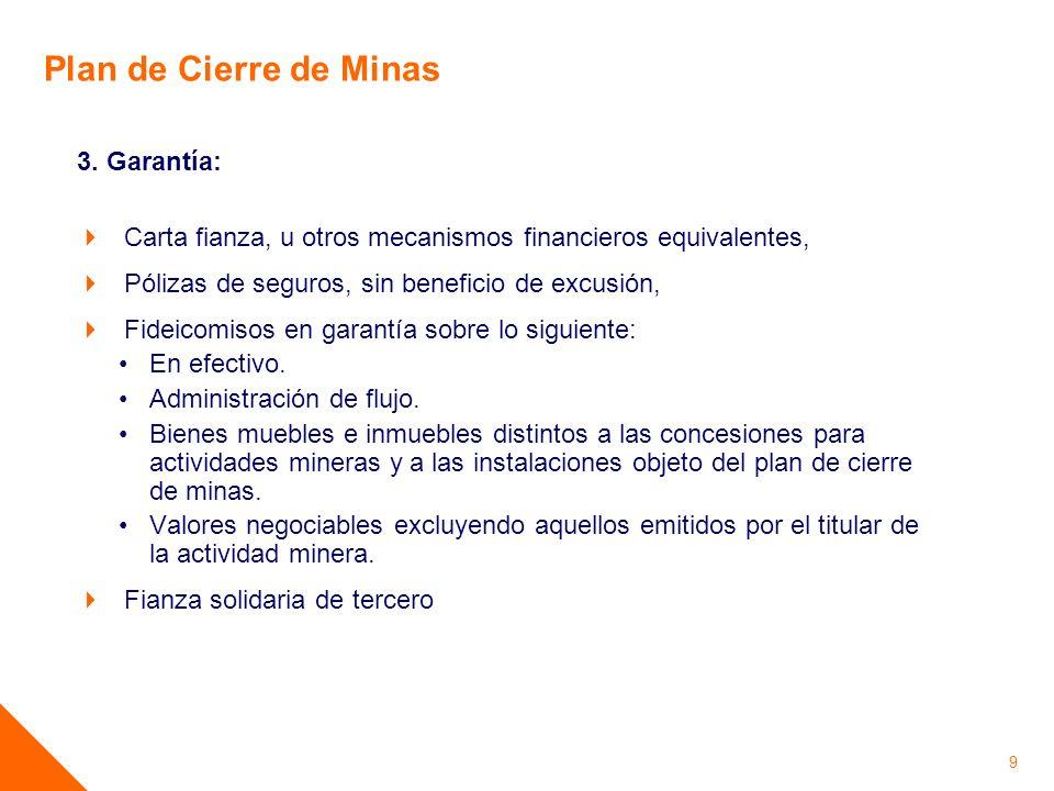 Plan de Cierre de Minas 3. Garantía: