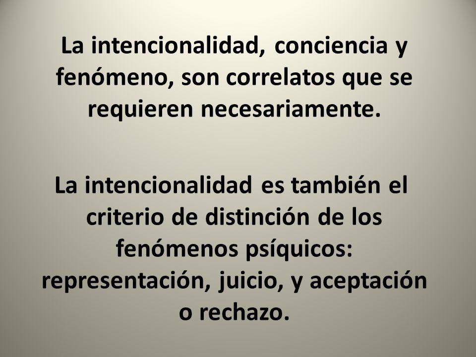 La intencionalidad, conciencia y fenómeno, son correlatos que se requieren necesariamente.