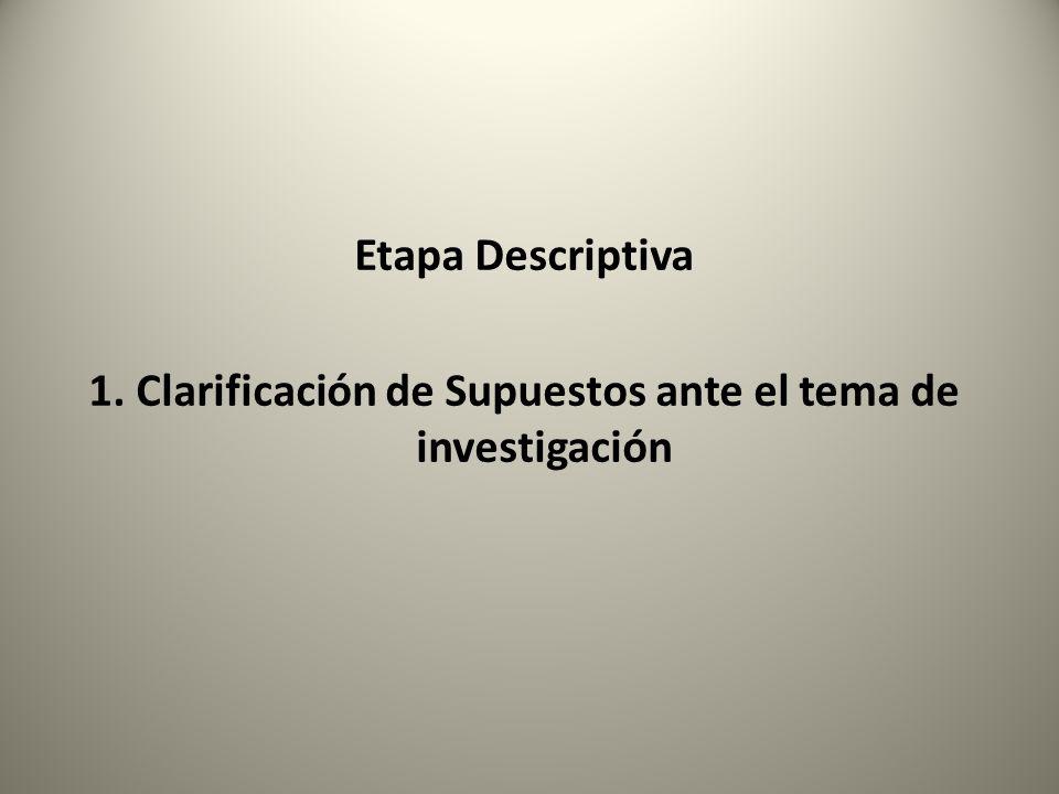 1. Clarificación de Supuestos ante el tema de investigación