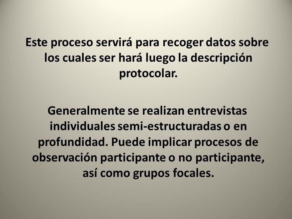 Este proceso servirá para recoger datos sobre los cuales ser hará luego la descripción protocolar.