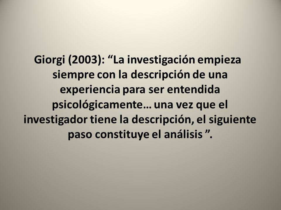 Giorgi (2003): La investigación empieza siempre con la descripción de una experiencia para ser entendida psicológicamente… una vez que el investigador tiene la descripción, el siguiente paso constituye el análisis .