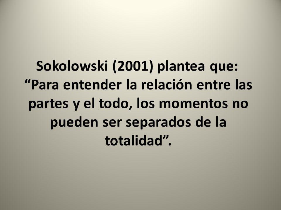 Sokolowski (2001) plantea que: Para entender la relación entre las partes y el todo, los momentos no pueden ser separados de la totalidad .