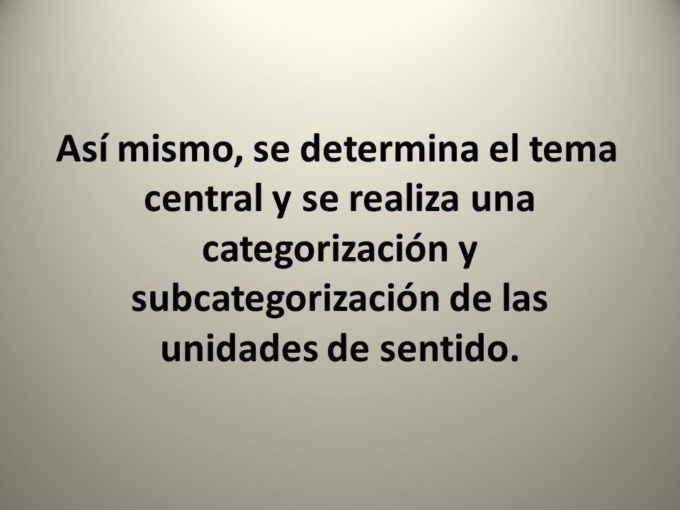 Así mismo, se determina el tema central y se realiza una categorización y subcategorización de las unidades de sentido.
