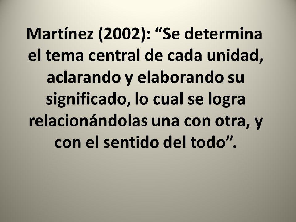 Martínez (2002): Se determina el tema central de cada unidad, aclarando y elaborando su significado, lo cual se logra relacionándolas una con otra, y con el sentido del todo .