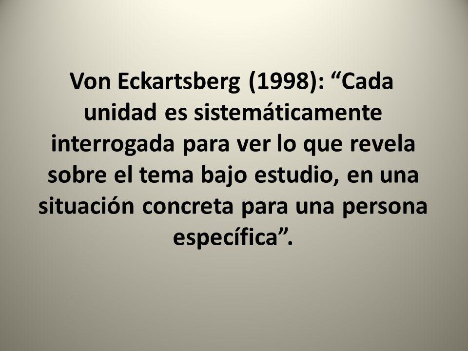 Von Eckartsberg (1998): Cada unidad es sistemáticamente interrogada para ver lo que revela sobre el tema bajo estudio, en una situación concreta para una persona específica .
