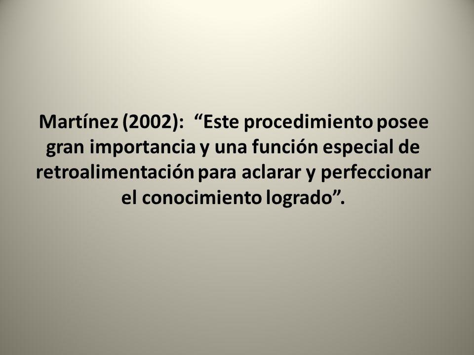 Martínez (2002): Este procedimiento posee gran importancia y una función especial de retroalimentación para aclarar y perfeccionar el conocimiento logrado .