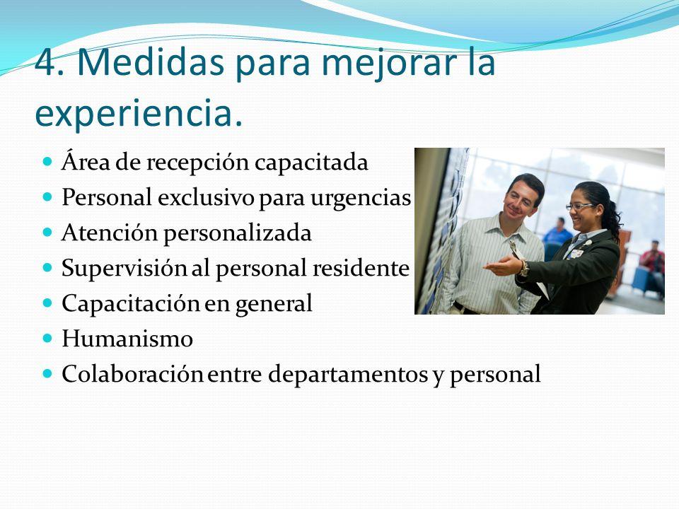 4. Medidas para mejorar la experiencia.