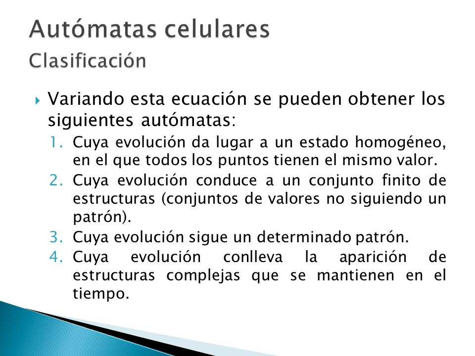 Autómatas celulares Clasificación