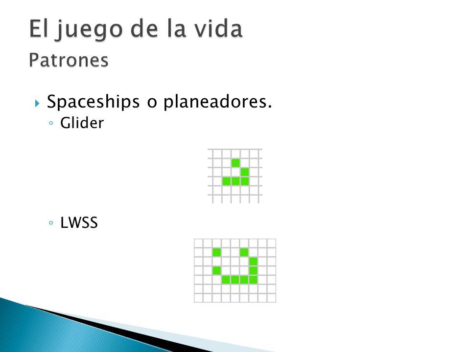 El juego de la vida Patrones Spaceships o planeadores. Glider LWSS