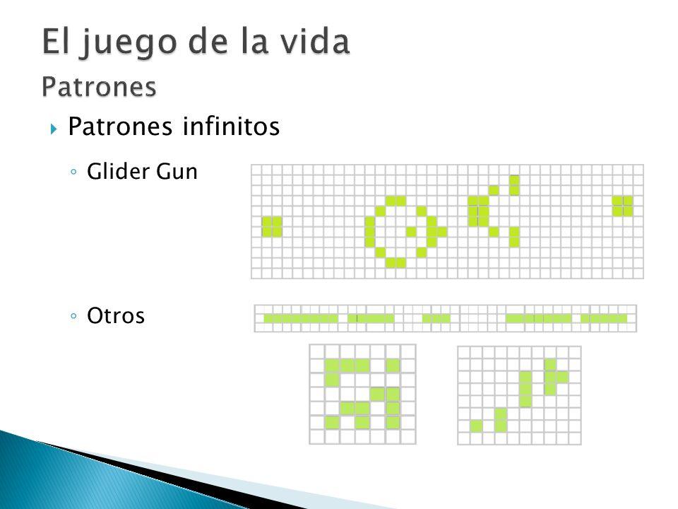 El juego de la vida Patrones Patrones infinitos Glider Gun Otros