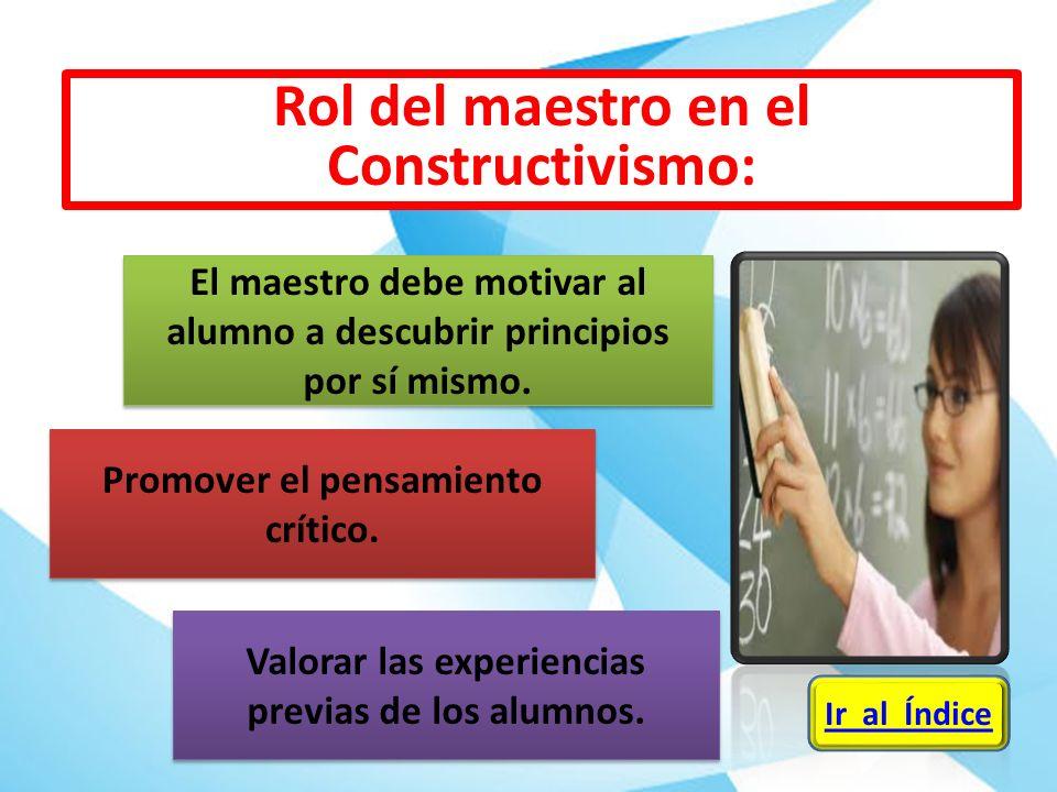Rol del maestro en el Constructivismo: