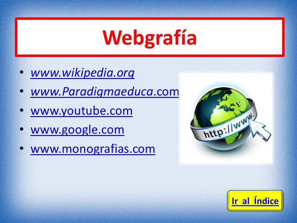 Webgrafía www.wikipedia.org www.Paradigmaeduca.com www.youtube.com