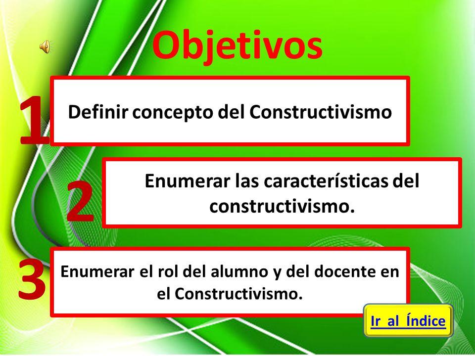 1 2 3 Objetivos Definir concepto del Constructivismo