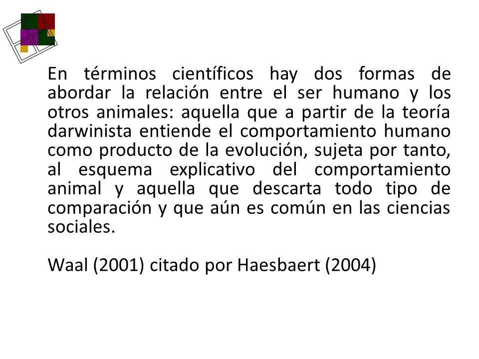 En términos científicos hay dos formas de abordar la relación entre el ser humano y los otros animales: aquella que a partir de la teoría darwinista entiende el comportamiento humano como producto de la evolución, sujeta por tanto, al esquema explicativo del comportamiento animal y aquella que descarta todo tipo de comparación y que aún es común en las ciencias sociales.