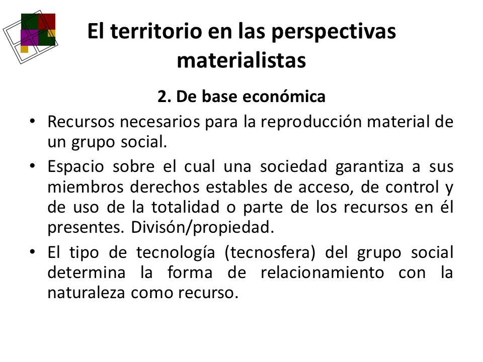 El territorio en las perspectivas materialistas