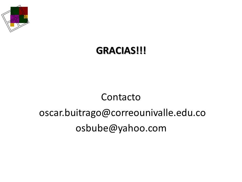 GRACIAS. Contacto oscar. buitrago@correounivalle. edu. co osbube@yahoo