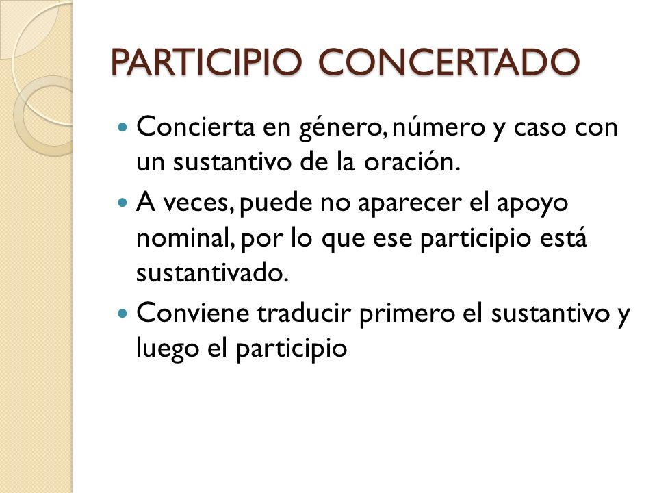 PARTICIPIO CONCERTADO