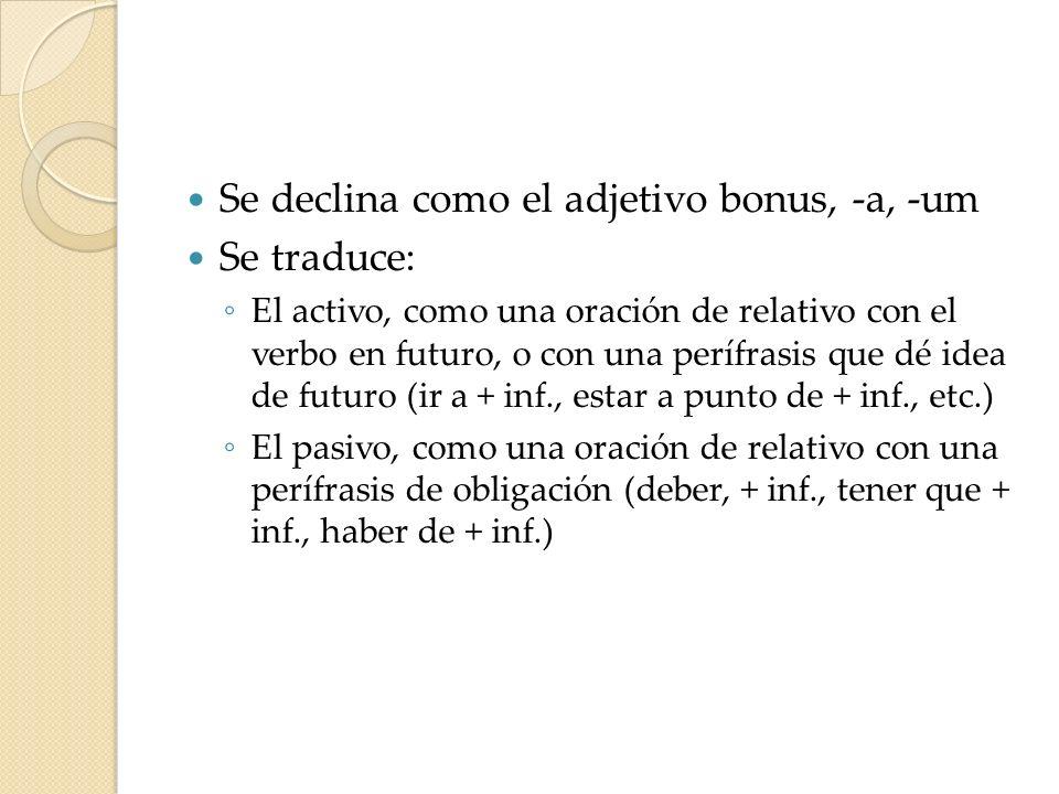 Se declina como el adjetivo bonus, -a, -um Se traduce: