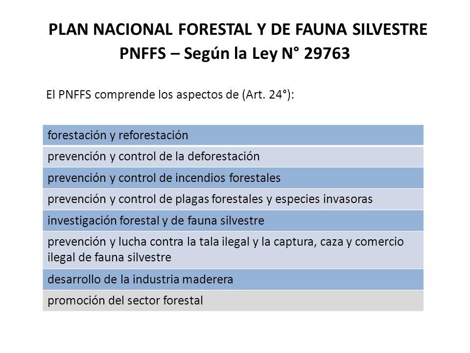PLAN NACIONAL FORESTAL Y DE FAUNA SILVESTRE PNFFS – Según la Ley N° 29763