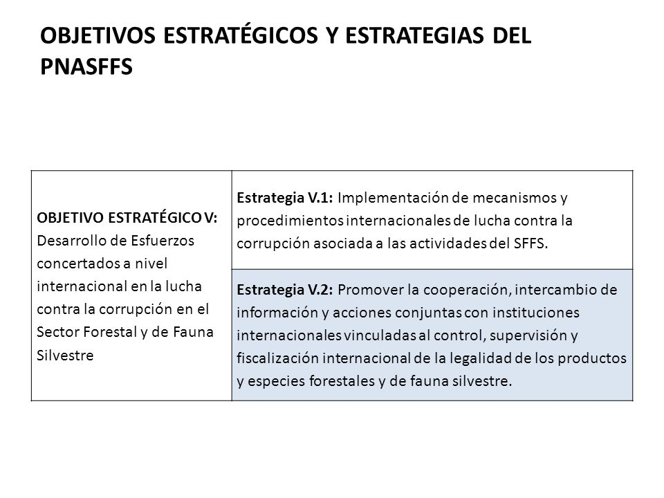 OBJETIVOS ESTRATÉGICOS Y ESTRATEGIAS DEL PNASFFS