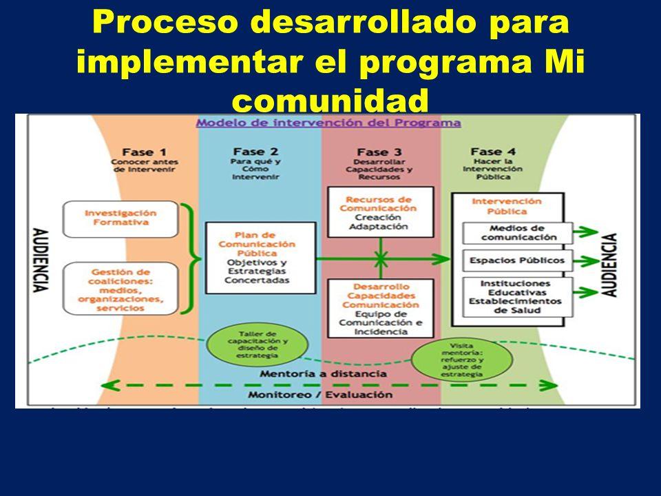 Proceso desarrollado para implementar el programa Mi comunidad