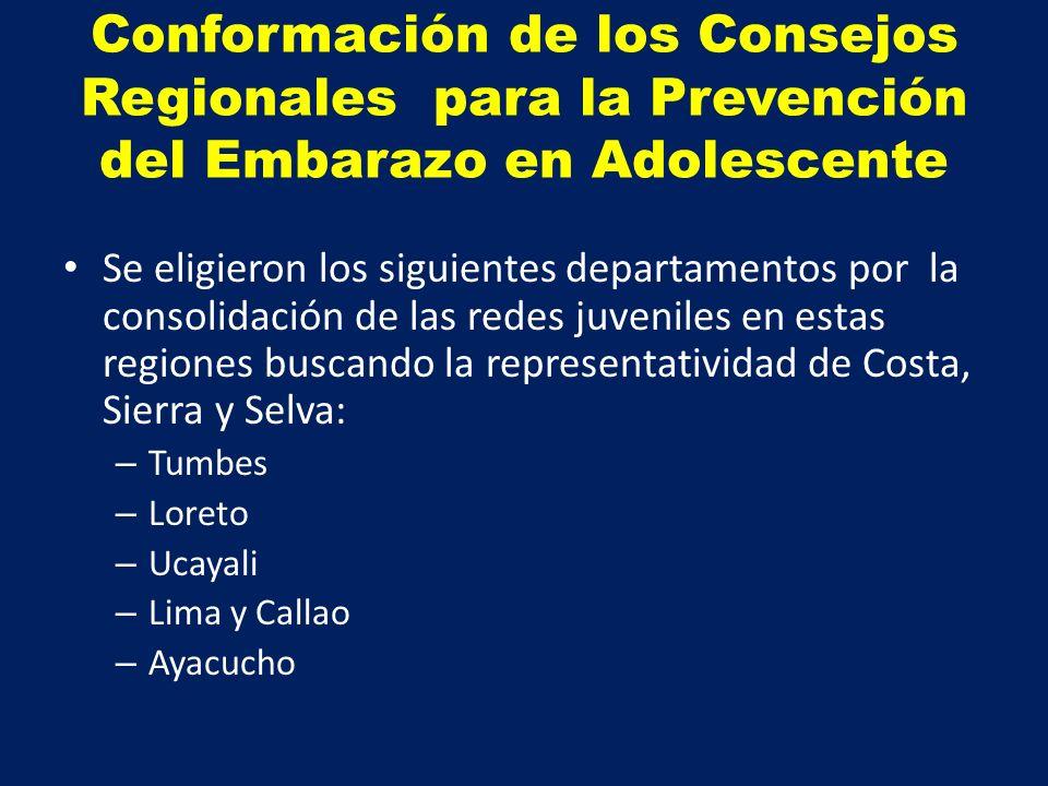 Conformación de los Consejos Regionales para la Prevención del Embarazo en Adolescente