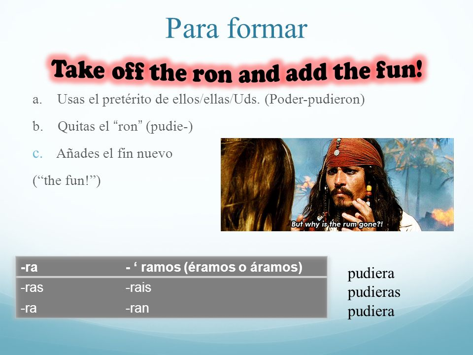 Para formar Take off the ron and add the fun! pudiera pudieras