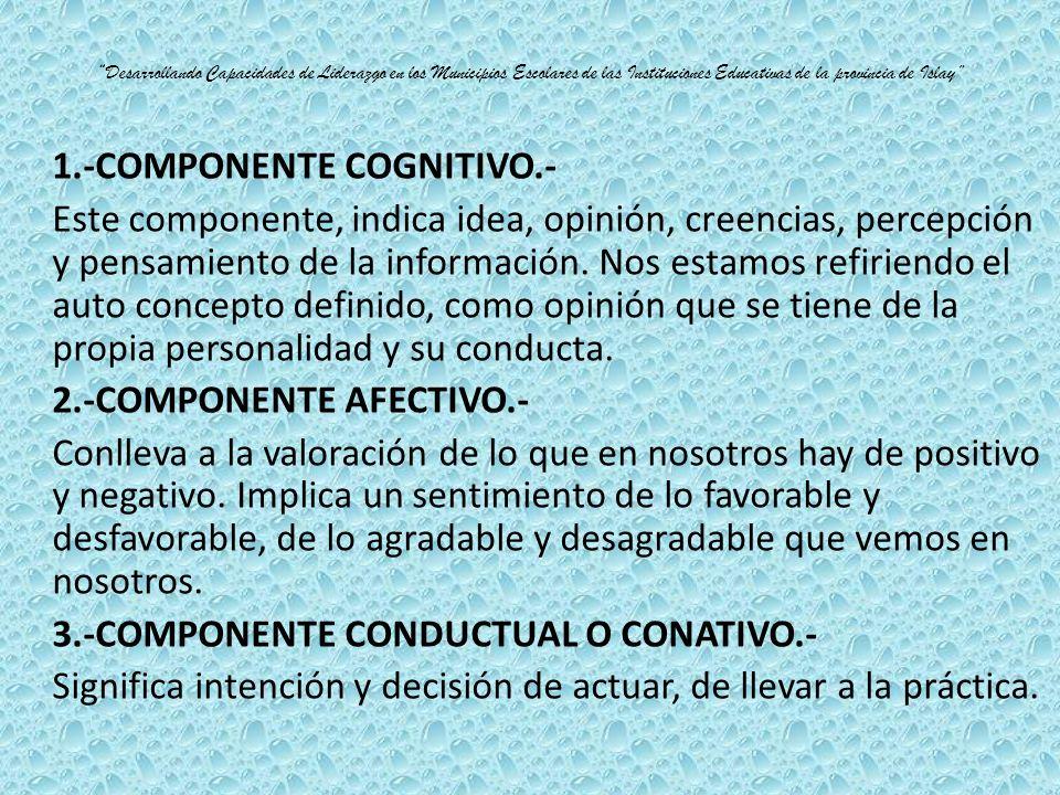 1.-COMPONENTE COGNITIVO.-