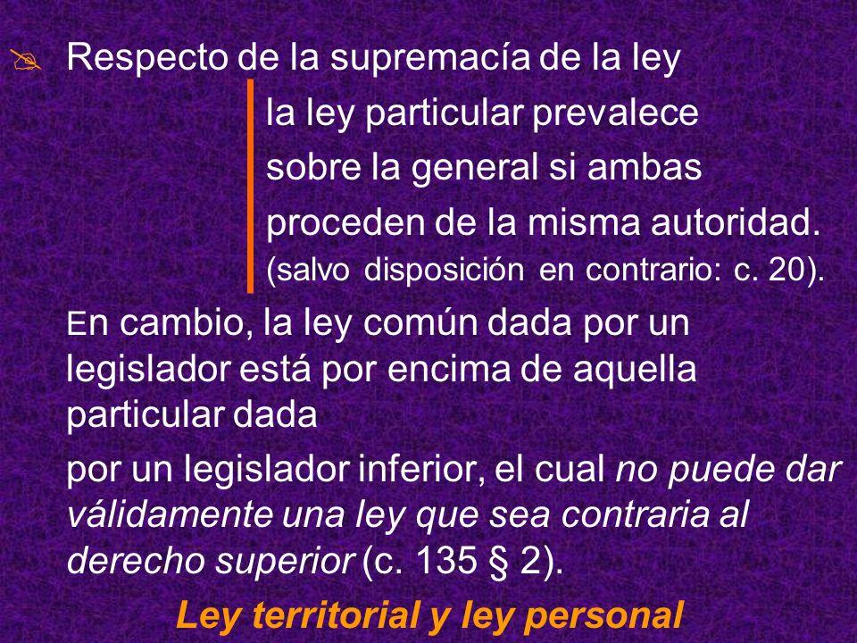 Ley territorial y ley personal