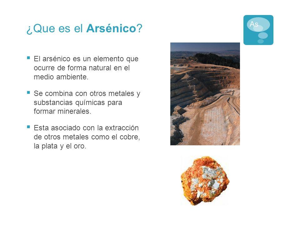 ¿Que es el Arsénico El arsénico es un elemento que ocurre de forma natural en el medio ambiente.