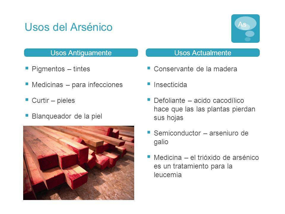 Usos del Arsénico As Usos Antiguamente Usos Actualmente