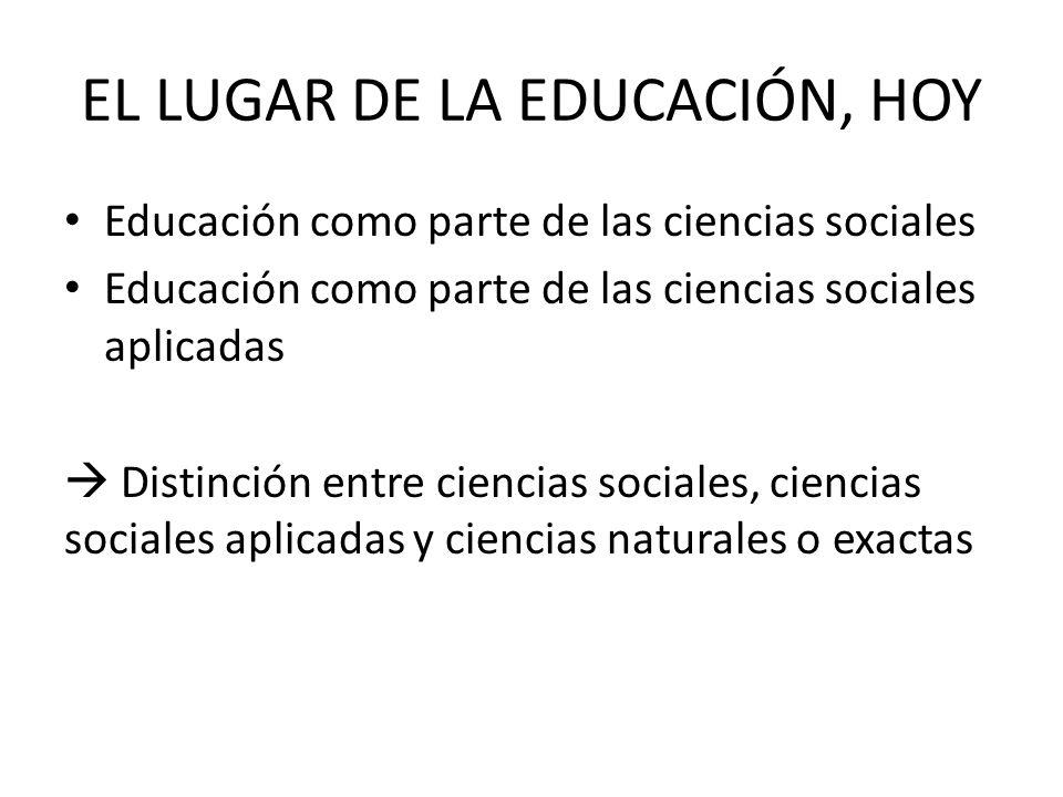 EL LUGAR DE LA EDUCACIÓN, HOY