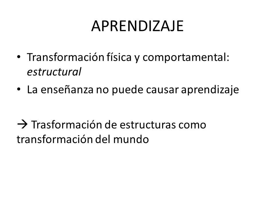APRENDIZAJE Transformación física y comportamental: estructural