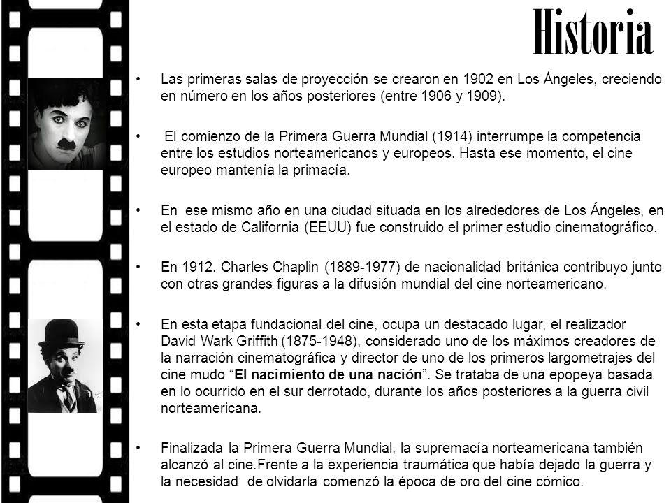 Historia Las primeras salas de proyección se crearon en 1902 en Los Ángeles, creciendo en número en los años posteriores (entre 1906 y 1909).