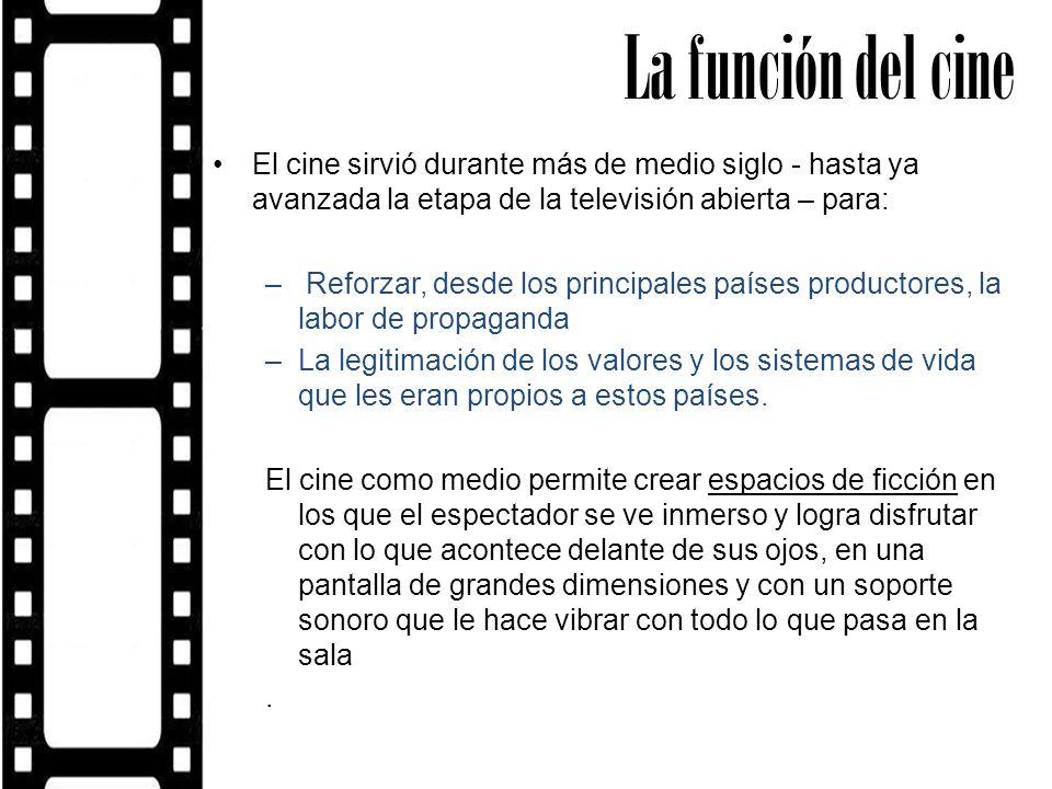 La función del cine El cine sirvió durante más de medio siglo - hasta ya avanzada la etapa de la televisión abierta – para: